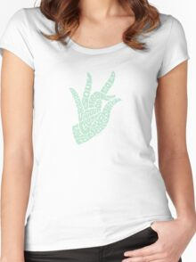 Heart Hand Pastel Green,small version Women's Fitted Scoop T-Shirt