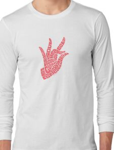 Heart Hand Pastel Rose,small version Long Sleeve T-Shirt