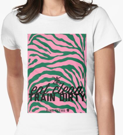 Eat Clean. Train Dirty [Pink] Womens Fitted T-Shirt