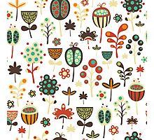 Cute Retro Stylized Flowers Seamless Pattern Photographic Print
