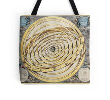 Old sky map depicting boreal and austral hemispheres with constellations and zodiac signs. Tote Bag