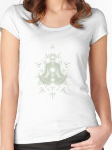 Yoga pose Neutral Green-White Women's Fitted Scoop T-Shirt