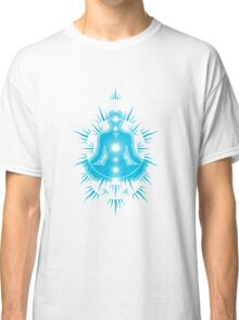 Yoga pose Sky Blue-White Classic T-Shirt