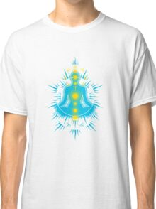 Yoga pose Sky Blue-Yellow Classic T-Shirt