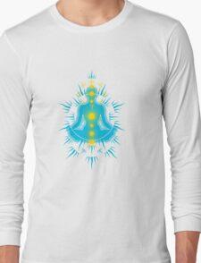 Yoga pose Sky Blue-Yellow Long Sleeve T-Shirt