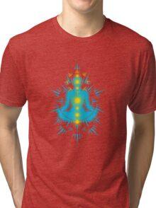 Yoga pose Sky Blue-Yellow Tri-blend T-Shirt