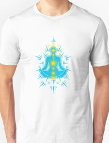 Yoga pose Sky Blue-Yellow T-Shirt