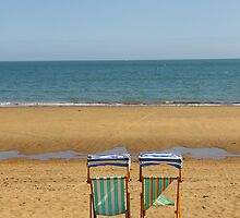 Deck Chairs on Sandown Beach by Jonathan Cox