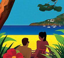 Shaded beach by drawgood