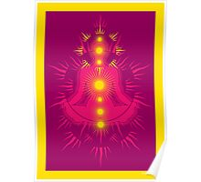 Yoga pose Pink-Rose wine-Yellow Poster