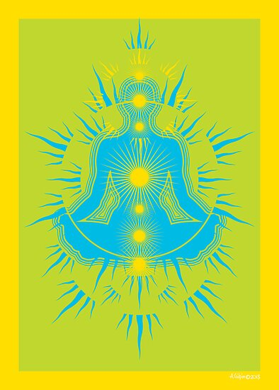 Yoga pose Sky Blue-Lime-Yellow by aygeartist