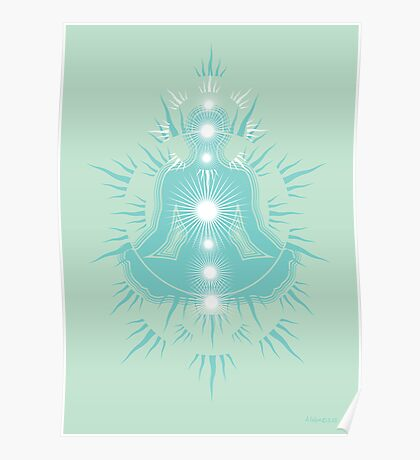 Yoga pose Soft seafaom teal-Pastel green-White Poster