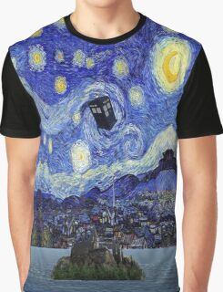 Starry Night Inspiration Hogwarts Harry Potter Dr Who Tardis Graphic T-Shirt