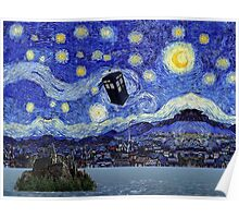 Starry Night Inspiration Hogwarts Harry Potter Dr Who Tardis Poster