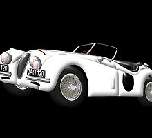 Jaguar XK120 on black by Dennis Melling
