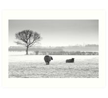 Snow scene with sheep Art Print