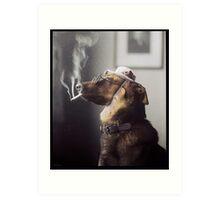 """Alex"" the Smoking Police Dog Art Print"