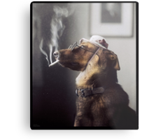 """Alex"" the Smoking Police Dog Metal Print"
