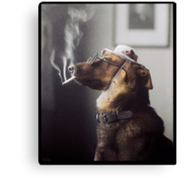 """Alex"" the Smoking Police Dog Canvas Print"