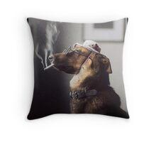 """Alex"" the Smoking Police Dog Throw Pillow"