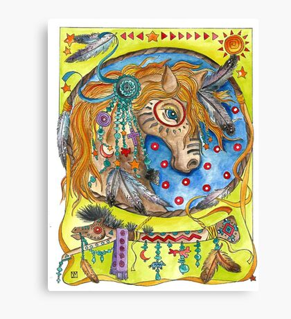 Horse Dream Catcher Canvas Print
