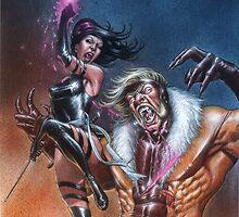 Psylocke vs Sabretooth by AndreaMangiri
