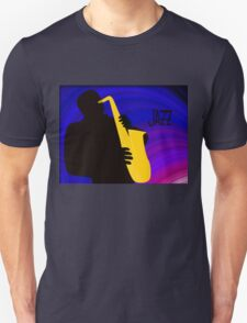 Silhouette of a Jazz Saxophone Player, Purple Blue Background T-Shirt