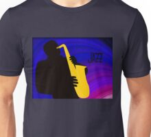 Silhouette of a Jazz Saxophone Player, Purple Blue Background Unisex T-Shirt