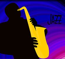 Silhouette of a Jazz Saxophone Player, Purple Blue Background by ibadishi