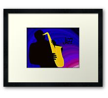 Silhouette of a Jazz Saxophone Player, Purple Blue Background Framed Print