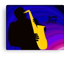 Silhouette of a Jazz Saxophone Player, Purple Blue Background Canvas Print