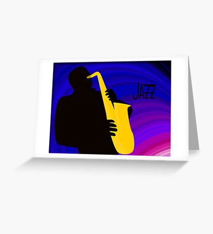 Silhouette of a Jazz Saxophone Player, Purple Blue Background Greeting Card