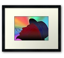 Portrait of Thelonious Monk Colorful Silhouette Smoking  Framed Print