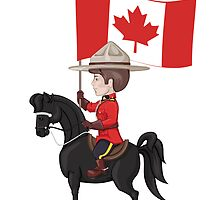 Mountie on horse with flag of Canada in hand by Ryna Synentchenko