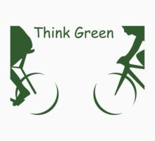 "Illustration of 2 Cyclists in Green and the Words : ""Think Green"" One Piece - Long Sleeve"