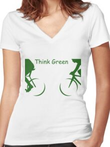 """Illustration of 2 Cyclists in Green and the Words : """"Think Green"""" Women's Fitted V-Neck T-Shirt"""