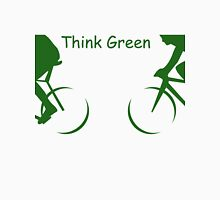 "Illustration of 2 Cyclists in Green and the Words : ""Think Green"" Unisex T-Shirt"