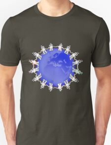 Blue Globe Surrounded by Little Cute Robots Unisex T-Shirt