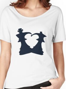 Black King and Queen Forming a Heart Women's Relaxed Fit T-Shirt