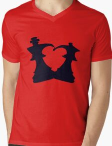 Black King and Queen Forming a Heart Mens V-Neck T-Shirt