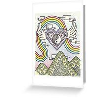 Yin Yang Heart Rainbow Greeting Card