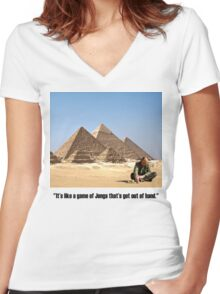 "Karl Pilkington - ""It's like a game of Jenga that's got out of hand"" Women's Fitted V-Neck T-Shirt"