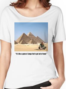 "Karl Pilkington - ""It's like a game of Jenga that's got out of hand"" Women's Relaxed Fit T-Shirt"
