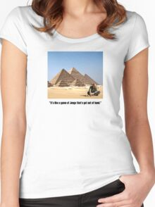 """Karl Pilkington - """"It's like a game of Jenga that's got out of hand"""" Women's Fitted Scoop T-Shirt"""