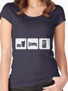 Eat Sleep and Doctor Who Women's Fitted Scoop T-Shirt