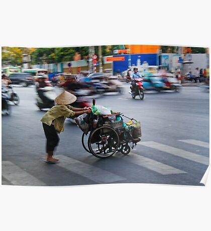 Crossing the road in Vietnam Poster