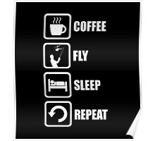 Funny RC Planes Coffee Sleep Repeat Poster