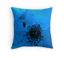 insect in blue flower Throw Pillow
