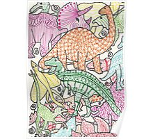 Patterned Dinosaurs Poster