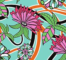 Flowers, Petals, Leaves, Swirls - Green Pink Blue by sitnica